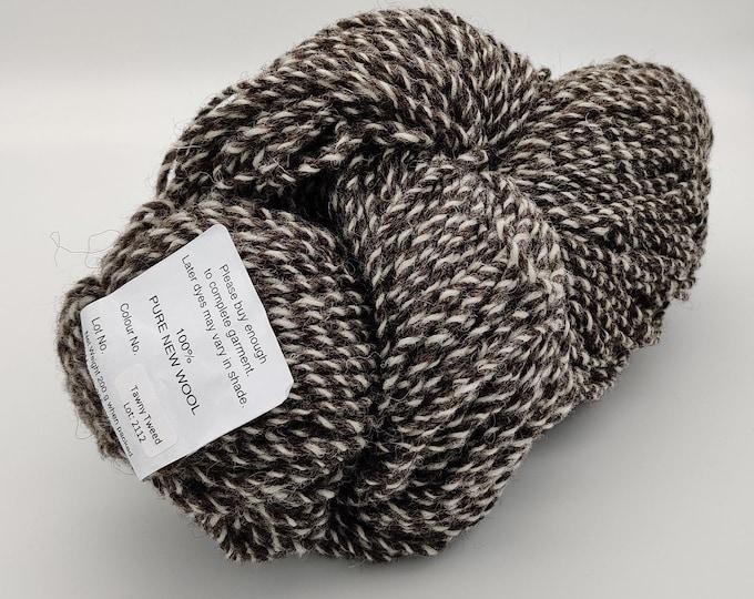 200g/7oz of Authentic Aran Knitting Wool - Tawny Tweed - 100% pure new wool - cream&brown - 365yards - MADE IN IRELAND -