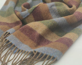 Irish Soft Lambswool scarf - 100% Pure New Wool - blue/bronze/burgundy/beige/green stripes - very soft - unisex - HANDMADE IN IRELAND