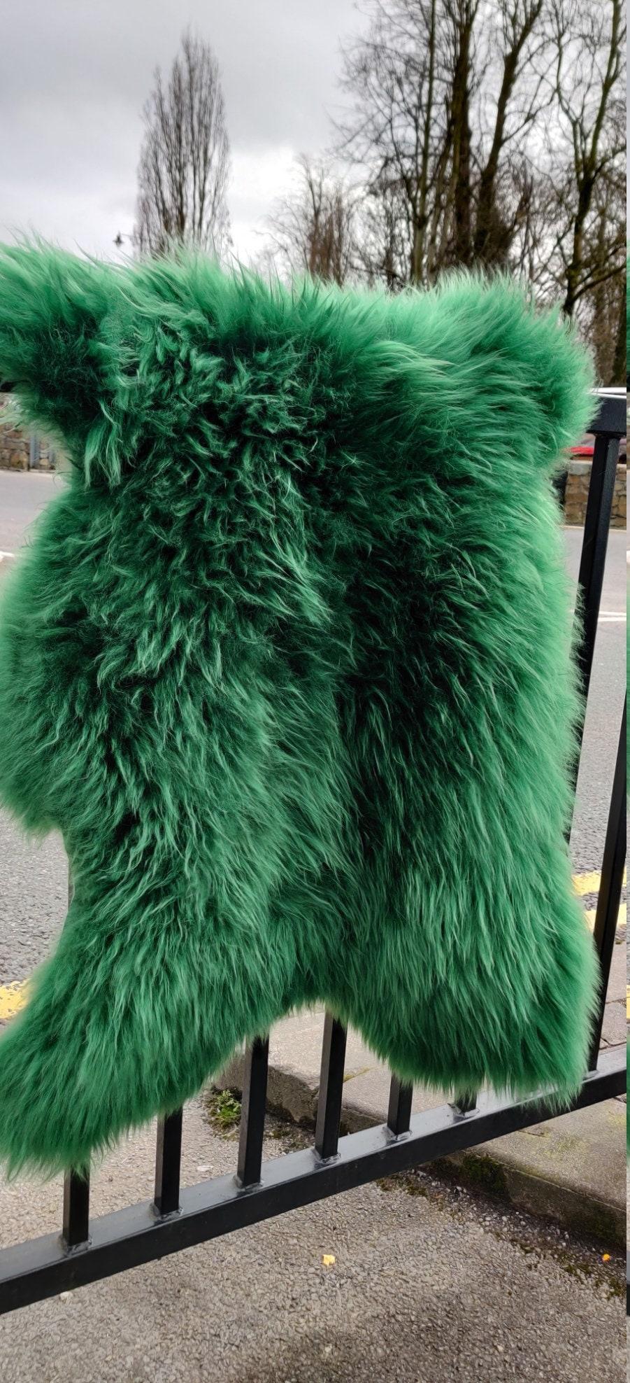 Genuine Irish Sheepskin Rug Dyed Emerald Green Really Soft Thick Free Worldwide Shipping From Ireland