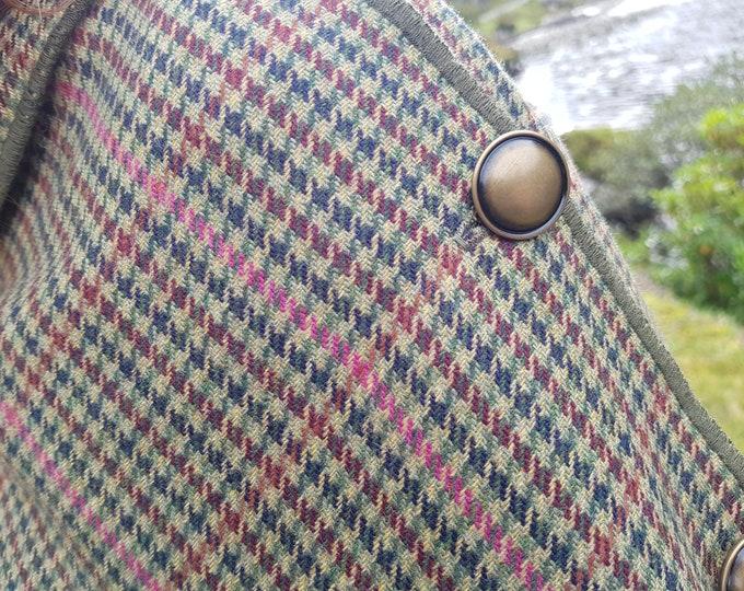 Irish soft lambswool poncho, cape, shawl in 1 piece! green/yellow/pink/burgundy houndstooth check - 100% pure new wool - HANDMADE IN IRELAND