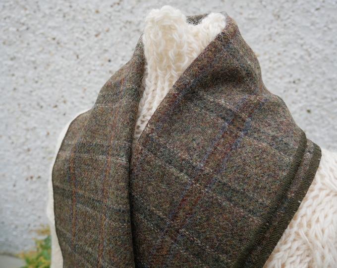 Irish tweed wool scarf -100% pure new wool- moss green tartan - hand fringed -ready for shipping - unisex - Handmade in Ireland
