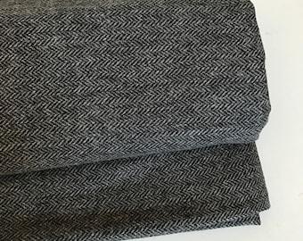 Irish tweed wool fabric-FREE WORLDWIDE SHIPPING-charcoal&grey herringbone-100%wool-12/13ozs,390gms-per metre-ready 4shipping-Made in Ireland