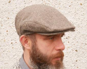 Traditional Irish tweed flat cap - newsboy cap - brown/beige herringbone - 100% wool -padded - ready for shipping - HANDMADE IN IRELAND