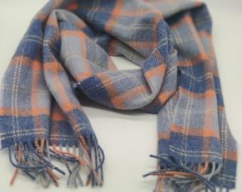 Irish Soft Lambswool scarf - 100% Pure New Wool - blue/baby blue/orange/white tartan/plaid check - very soft - unisex - HANDMADE IN IRELAND