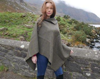 Irish Donegal tweed poncho, cape & shawl - 100% Pure New Irish Wool - moss green with yellow overcheck - HANDMADE IN IRELAND