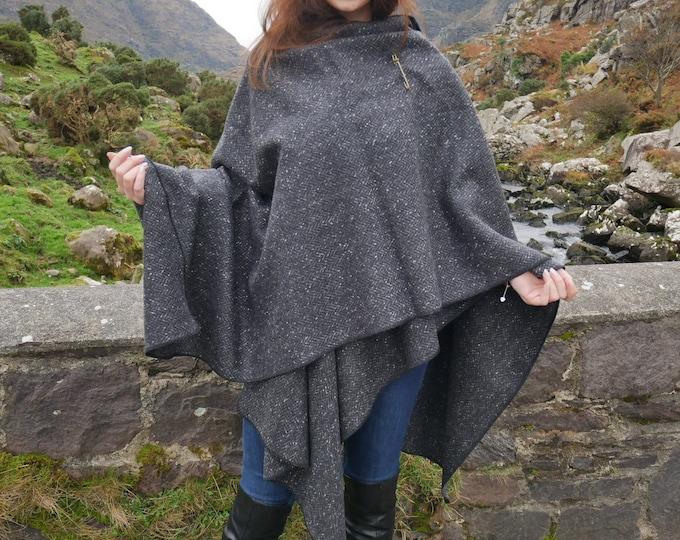 Irish Donegal Tweed Wool Ruana, Cape, Wrap, Cloak -Charcoal/ Grey Salt&Pepper Herringbone -100% Pure New Wool - Unisex - HANDMADE IN IRELAND