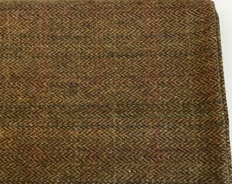 Irish tweed wool fabric-FREE WORLDWIDE SHIPPING-green herringbone/overcheck-100%wool-15ozs,450gms-per metre-ready 4 shipping-Made in Ireland