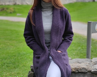 Rib Edge Knitted Long Ladies Jacket with Pockets - 100% Pure New Soft Lambswool -Elderberry Purple- really warm&chunky - HANDMADE IN IRELAND