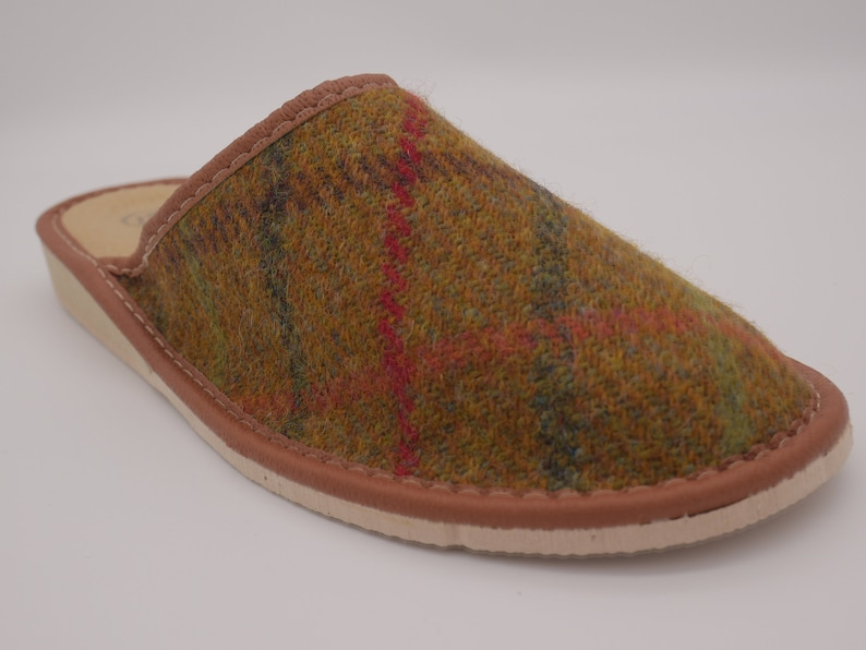 b2e0ff7877611 Womens Irish tweed & leather slippers - mustard green with green/red/brown  check - MADE IN IRELAND