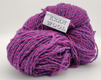 365yards/333m of Authentic Aran Knitting Wool - cabaret(salmon/blue) - 200g/75oz - 100% pure new wool - MADE IN IRELAND
