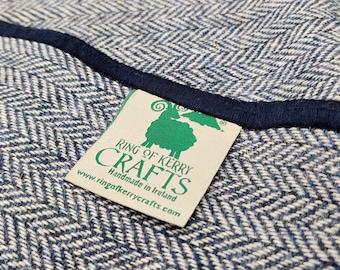 Irish tweed wool scarf - 100% pure new wool - navy / white herringbone - HANDMADE IN IRELAND