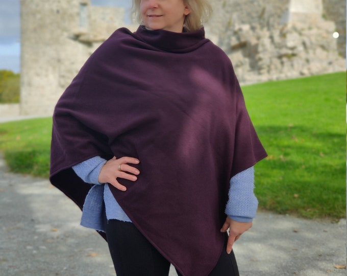 Turtleneck poncho made out of Irish felted wool - 100% pure new wool - very warm - burgundy - HANDMADE IN IRELAND