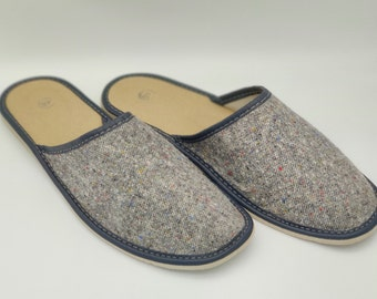 Irish Donegal tweed & genuine leather slippers - hardened foam sole - speckled grey/ with flecks - ready for shipping - MADE IN IRELAND