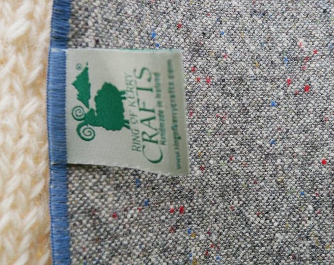 Irish tweed wool scarf -100% wool- gray/ multi colour fleck - FREE SHIPPING-hand fringed -ready for shipping - unisex - Handmade in Ireland