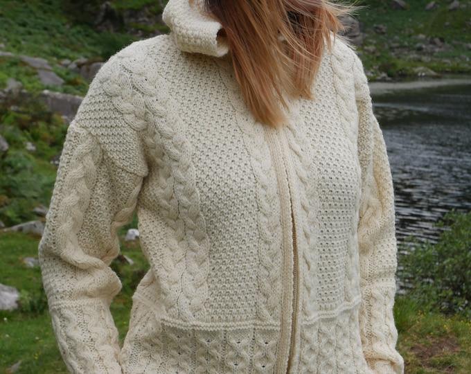 Hooded Aran Zipper Cardigan - Cream  - 100% Pure New Wool - Chunky & Heavy - MADE IN IRELAND