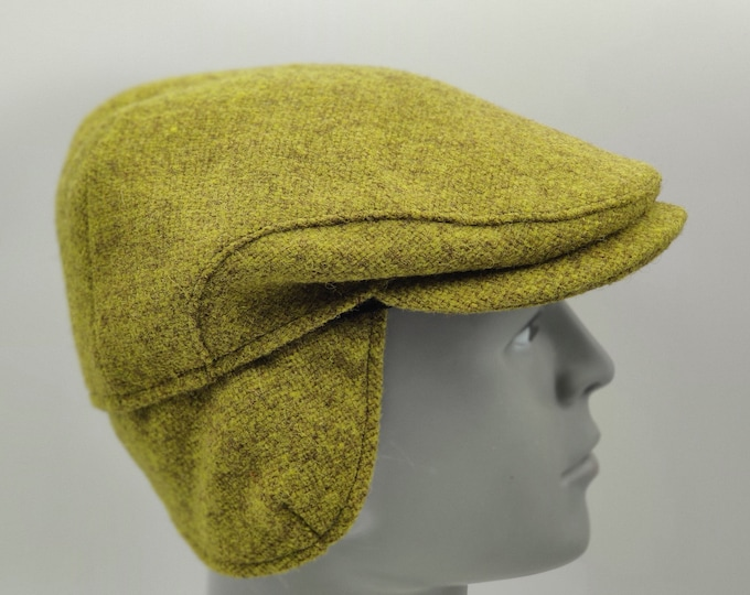 Traditional Irish tweed flat cap -olive/lime green -with foldable/optional ear flaps -100% wool -padded -HANDMADE IN IRELAND