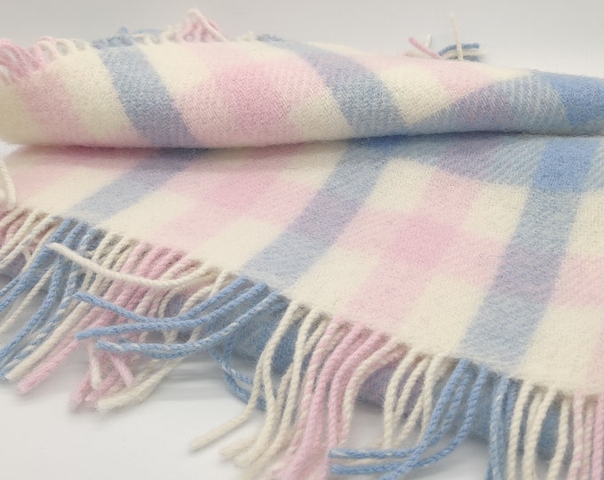 "Baby blanket - 100% pure new wool - cream white/ baby blue / baby pink block check - 28"" x 39"" (70cm x 100cm) - MADE IN IRELAND"