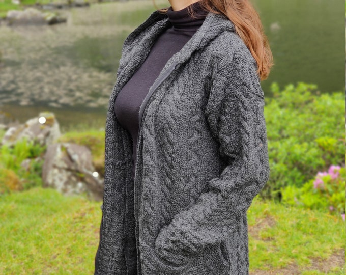Irish Aran Long Hooded Cardigan With Pockets - Charcoal - 100% Pure New Wool - Really Warm & Chunky - Proper Aran - MADE IN IRELAND