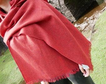 Irish tweed wool shawl, oversized scarf, stole - red -lightweight fabric - 100% wool -hand fringed- ready for shipping - HANDMADE IN IRELAND
