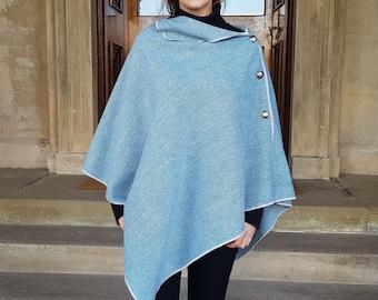 Versatile 3in1-Irish tweed poncho, cape & shawl - teal blue / white chevron - 100% wool - ready for shipping - HANDMADE IN IRELAND