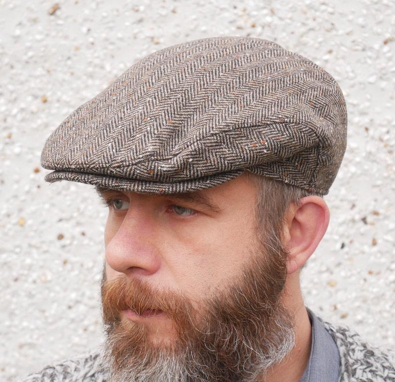 7ba07acfc31f1 Traditional Irish tweed flat cap brown speckled herringbone