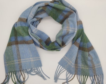 Irish Soft Lambswool scarf - 100% Pure New Wool -blue/green/light brown/white - tartan/plaid check - very soft - unisex -HANDMADE IN IRELAND