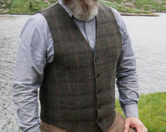Irish tweed waistcoat - Peaky Blinders vest - green Irish tartan/plaid with blue/red check - 100% wool - lined - HANDMADE IN IRELAND