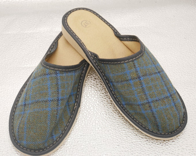 Womens Irish tweed & leather slippers - green/blue/black tartan / plaid check - ready for shipping - MADE IN IRELAND