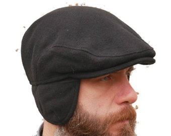 Traditional Irish tweed flat cap with optional/foldable ear flaps - black - 100% wool - padded - HANDMADE IN IRELAND