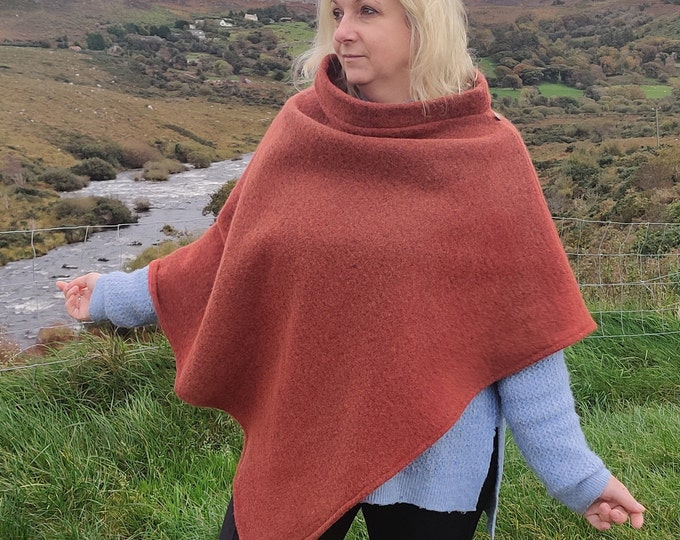 Turtleneck poncho made out of Irish felted wool - 100% pure new wool - very warm - red orange - HANDMADE IN IRELAND