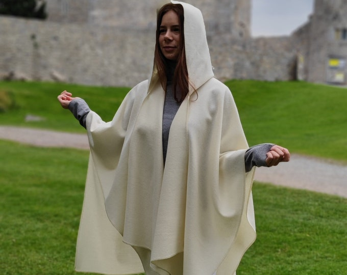 Irish Woven Wool Cape, Ruana, Wrap, Rectangle Cloak - 100% Pure New Wool - Cream / Off White - HANDMADE IN IRELAND
