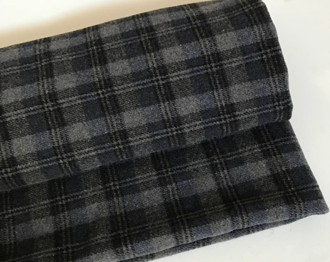 Irish tweed 100% wool fabric-FREE WORLDWIDE SHIPPING-grey&charcoal tartan-plaid-15ozs,450gms-price per metre-ready 4shipping-Made in Ireland