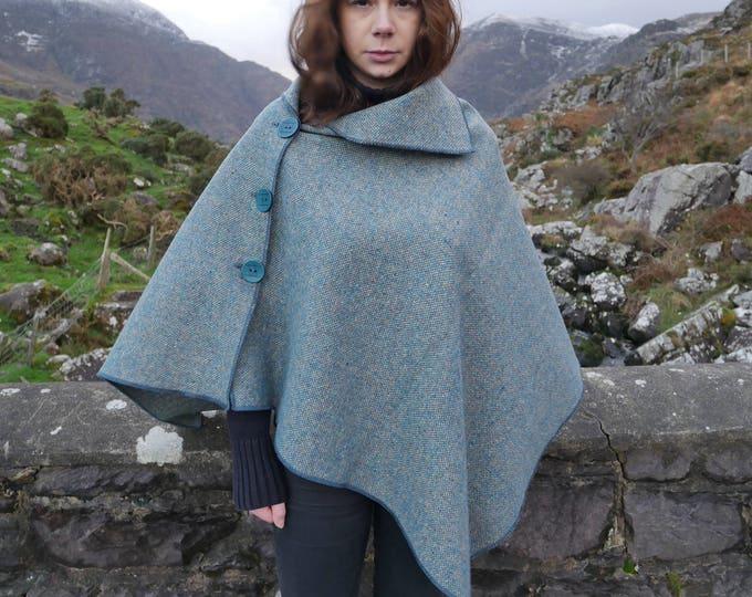 Versatile 3in1-Irish tweed poncho, cape & shawl - turquoise / grey - 100% wool - ready for shipping - Handmade in Ireland