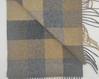 Irish Soft Lambswool scarf - 100% Pure New Wool -beige/mustard green/grey/charcoal  block check - very soft - unisex - HANDMADE IN IRELAND