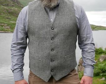 Irish tweed waistcoat - Peaky Blinders vest - grey tartan/plaid with blue tread - 100% wool - lined - HANDMADE IN IRELAND