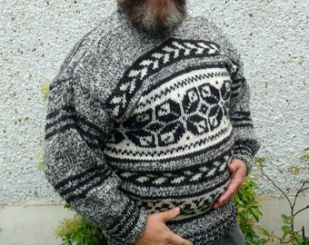 Irish hand knitted sweater-FREE WORLDWIDE SHIPPING-3 different yarn colours used-100% raw organic wool-undyed-Hand knitted in Ireland