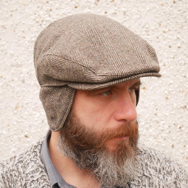 30254f5f48890 Traditional Irish tweed flat cap brown herringbone with