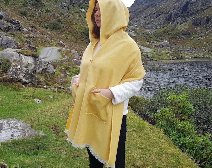 Irish tweed shawl, oversized scarf, stole - yellow / white chevron - 100% wool - hand fringed - ready for shipping - HANDMADE IN IRELAND