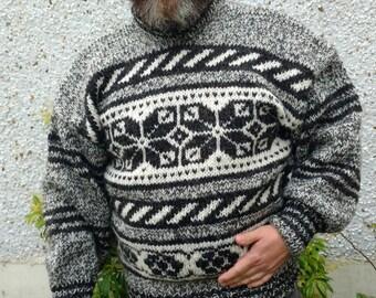 Irish hand knitted sweater-FREE WORLDWIDE SHIPPING- gray,black&white - 100% raw organic wool - undyed - unprocessed- Hand knitted in Ireland