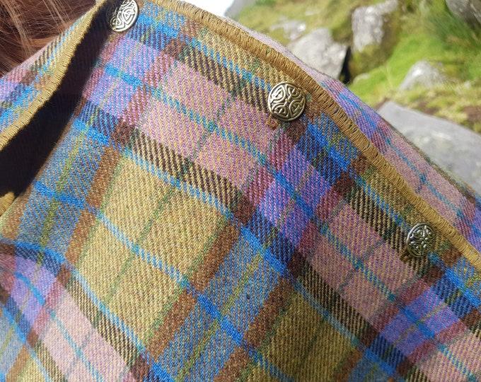 Irish soft lambswool poncho, cape, shawl in 1 piece! green/blue/pink tartan , plaid  check - 100% pure new wool - HANDMADE IN IRELAND