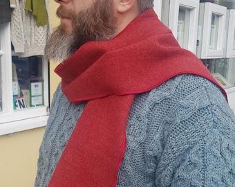 Irish tweed wool scarf - 100% pure new wool - orange red - hand fringed - HANDMADE IN IRELAND