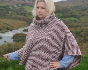 Turtleneck poncho made out of Irish woven wool - loose weave - 100% pure new wool - very warm - burgundy/white chevron - HANDMADE IN IRELAND