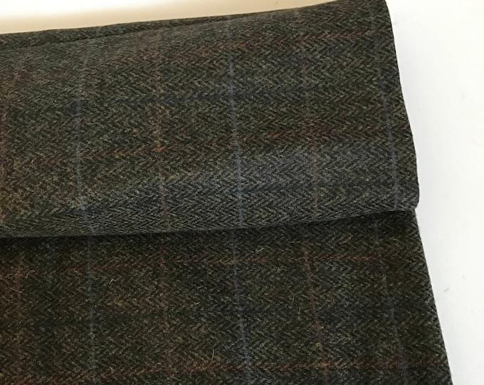 Irish tweed 100%wool fabric -dark moss herringbone/overcheck - 13,7ozs,390gms-price p/m- ready 4 shipping - MADE IN IRELAND