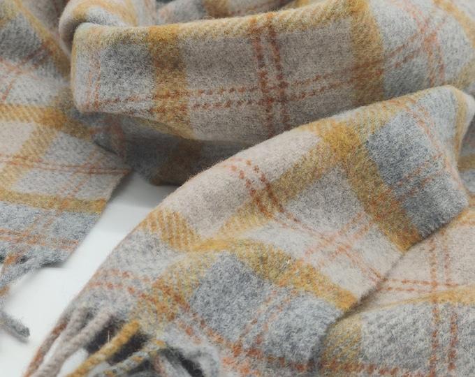 Irish Soft Lambswool scarf - 100% Pure New Wool - grey/beige/yellow/orange - tartan/plaid check - very soft - unisex - HANDMADE IN IRELAND