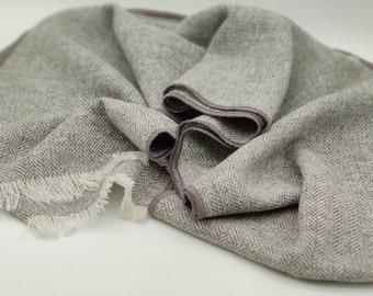 Irish tweed wool scarf - 100% pure new wool - grey/white herringbone - HANDMADE IN IRELAND