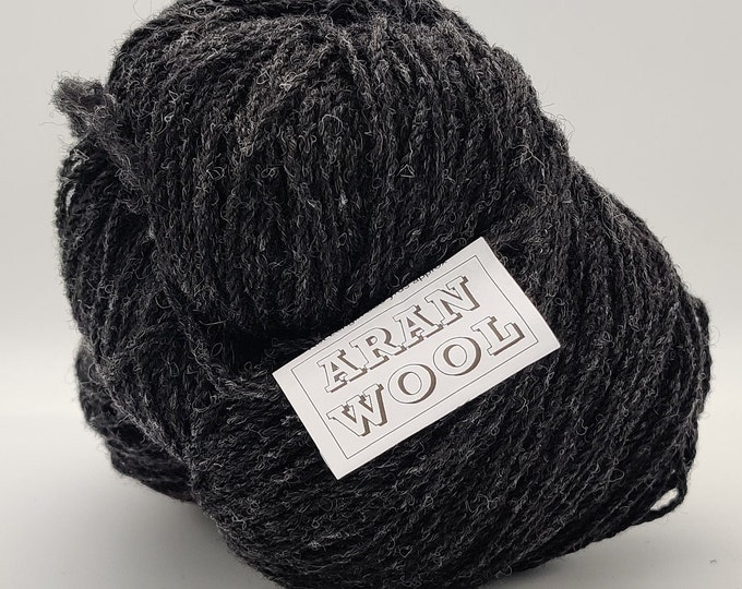 Authentic Aran Knitting Wool - Charcoal - 200g/365yards - 100% pure new wool - MADE IN IRELAND