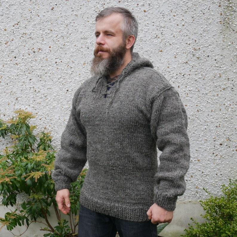 Authentic Irish Fisherman Sweater Hooded Ribbed Etsy