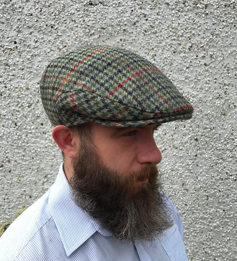 Traditional Irish flat cap-green houndstooth overcheck Irish  467888580ef7