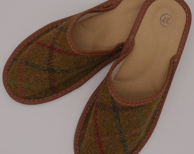 Womens Irish tweed & leather slippers - mustard green with  green/red/brown check - MADE IN IRELAND