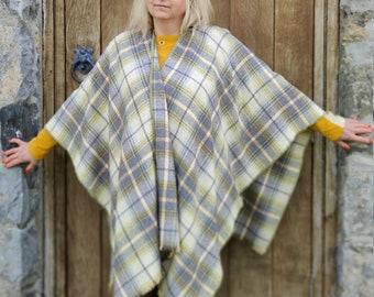 Burette silk Summer/Spring ruana wrap - yellow/teal/grey/brown plaid check - tartan - perfect for sensitive skin - HANDMADE IN IRELAND